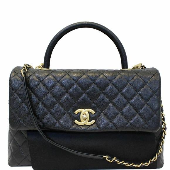 CHANEL Handbags - CHANEL Medium Coco Handle Caviar Leather Bag Black